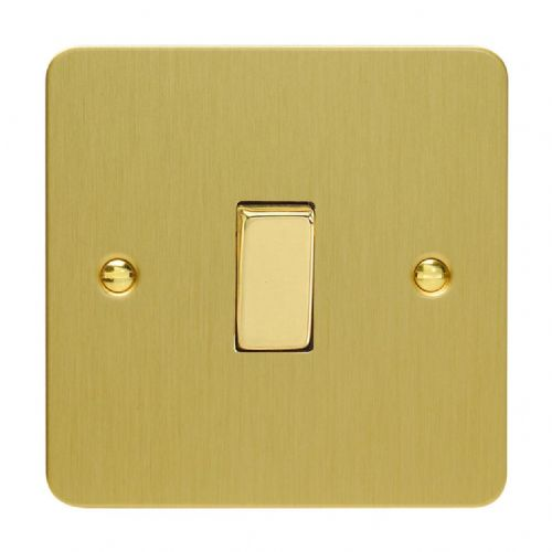 Varilight XFB1D Ultraflat Brushed Brass 1 Gang 10A 1 or 2 Way Rocker Light Switch